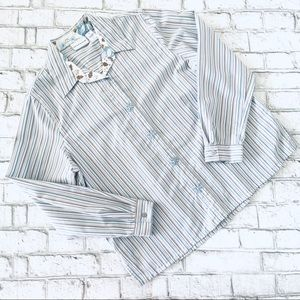 Alfred Dunner Striped Button Up Poly-Blend Top 14